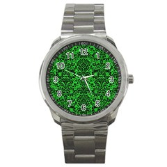 Damask2 Black Marble & Green Colored Pencil (r) Sport Metal Watch by trendistuff