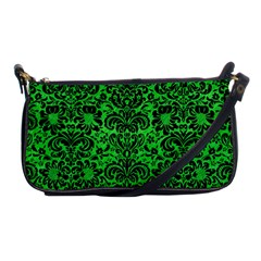 Damask2 Black Marble & Green Colored Pencil (r) Shoulder Clutch Bags by trendistuff