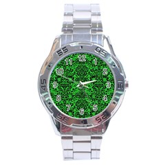 Damask2 Black Marble & Green Colored Pencil (r) Stainless Steel Analogue Watch by trendistuff
