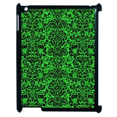 Damask2 Black Marble & Green Colored Pencil (r) Apple Ipad 2 Case (black) by trendistuff