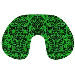 Damask2 Black Marble & Green Colored Pencil (r) Travel Neck Pillows by trendistuff
