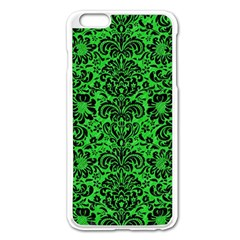 Damask2 Black Marble & Green Colored Pencil (r) Apple Iphone 6 Plus/6s Plus Enamel White Case by trendistuff