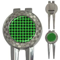 Houndstooth1 Black Marble & Green Colored Pencil 3 In 1 Golf Divots by trendistuff