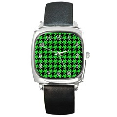 Houndstooth1 Black Marble & Green Colored Pencil Square Metal Watch by trendistuff