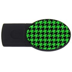 Houndstooth1 Black Marble & Green Colored Pencil Usb Flash Drive Oval (4 Gb) by trendistuff