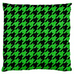 Houndstooth1 Black Marble & Green Colored Pencil Large Cushion Case (two Sides) by trendistuff