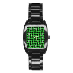 Houndstooth1 Black Marble & Green Colored Pencil Stainless Steel Barrel Watch by trendistuff