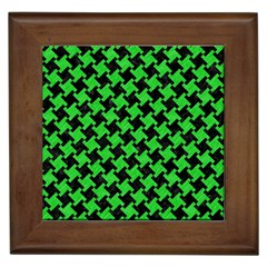 Houndstooth2 Black Marble & Green Colored Pencil Framed Tiles by trendistuff