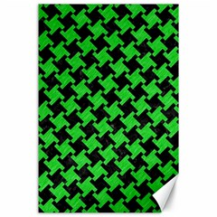 Houndstooth2 Black Marble & Green Colored Pencil Canvas 24  X 36  by trendistuff