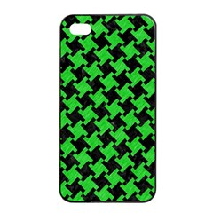 Houndstooth2 Black Marble & Green Colored Pencil Apple Iphone 4/4s Seamless Case (black) by trendistuff