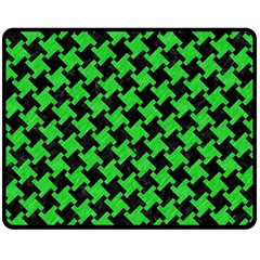 Houndstooth2 Black Marble & Green Colored Pencil Double Sided Fleece Blanket (medium)  by trendistuff