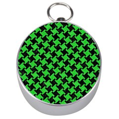Houndstooth2 Black Marble & Green Colored Pencil Silver Compasses by trendistuff