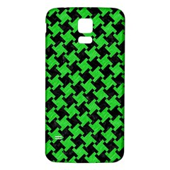 Houndstooth2 Black Marble & Green Colored Pencil Samsung Galaxy S5 Back Case (white) by trendistuff