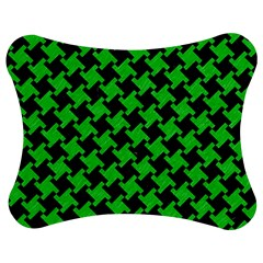 Houndstooth2 Black Marble & Green Colored Pencil Jigsaw Puzzle Photo Stand (bow) by trendistuff