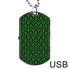 Hexagon1 Black Marble & Green Colored Pencil Dog Tag Usb Flash (two Sides) by trendistuff