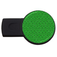 Hexagon1 Black Marble & Green Colored Pencil (r) Usb Flash Drive Round (4 Gb) by trendistuff