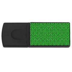 Hexagon1 Black Marble & Green Colored Pencil (r) Rectangular Usb Flash Drive by trendistuff