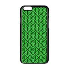 Hexagon1 Black Marble & Green Colored Pencil (r) Apple Iphone 6/6s Black Enamel Case by trendistuff