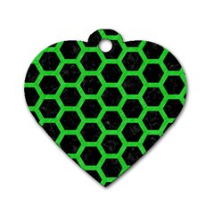 Hexagon2 Black Marble & Green Colored Pencil Dog Tag Heart (two Sides) by trendistuff