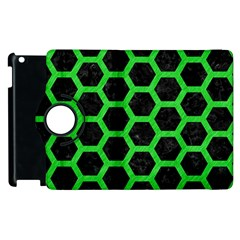 Hexagon2 Black Marble & Green Colored Pencil Apple Ipad 2 Flip 360 Case by trendistuff