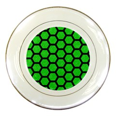 Hexagon2 Black Marble & Green Colored Pencil (r) Porcelain Plates by trendistuff