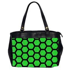Hexagon2 Black Marble & Green Colored Pencil (r) Office Handbags (2 Sides)  by trendistuff