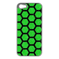 Hexagon2 Black Marble & Green Colored Pencil (r) Apple Iphone 5 Case (silver) by trendistuff