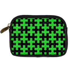 Puzzle1 Black Marble & Green Colored Pencil Digital Camera Cases by trendistuff