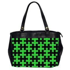 Puzzle1 Black Marble & Green Colored Pencil Office Handbags (2 Sides)