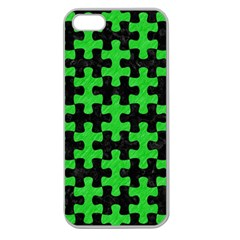 Puzzle1 Black Marble & Green Colored Pencil Apple Seamless Iphone 5 Case (clear) by trendistuff