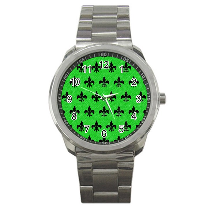 ROYAL1 BLACK MARBLE & GREEN COLORED PENCIL Sport Metal Watch