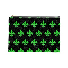 Royal1 Black Marble & Green Colored Pencil (r) Cosmetic Bag (large)  by trendistuff