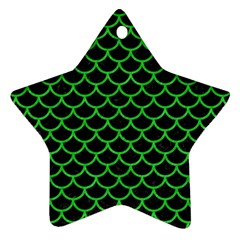 Scales1 Black Marble & Green Colored Pencil Ornament (star) by trendistuff