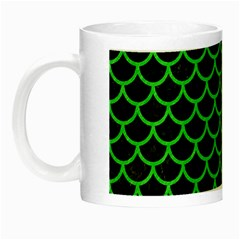 Scales1 Black Marble & Green Colored Pencil Night Luminous Mugs by trendistuff