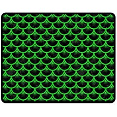 Scales3 Black Marble & Green Colored Pencil Fleece Blanket (medium)  by trendistuff