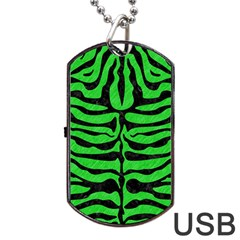 Skin2 Black Marble & Green Colored Pencil (r) Dog Tag Usb Flash (two Sides) by trendistuff