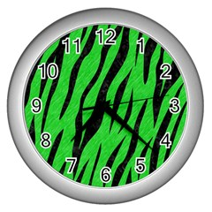 Skin3 Black Marble & Green Colored Pencil (r) Wall Clocks (silver)  by trendistuff