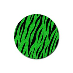Skin3 Black Marble & Green Colored Pencil (r) Rubber Coaster (round)  by trendistuff