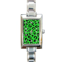 Skin5 Black Marble & Green Colored Pencil Rectangle Italian Charm Watch by trendistuff