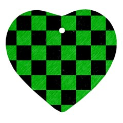 Square1 Black Marble & Green Colored Pencil Heart Ornament (two Sides) by trendistuff