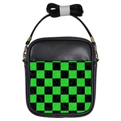 Square1 Black Marble & Green Colored Pencil Girls Sling Bags by trendistuff