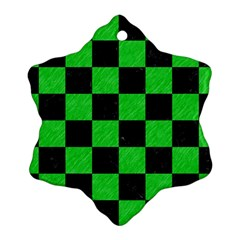 Square1 Black Marble & Green Colored Pencil Snowflake Ornament (two Sides)