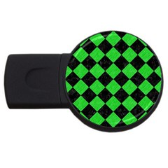 Square2 Black Marble & Green Colored Pencil Usb Flash Drive Round (4 Gb)