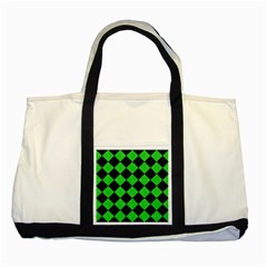 Square2 Black Marble & Green Colored Pencil Two Tone Tote Bag by trendistuff