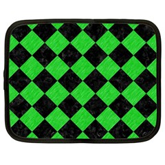 Square2 Black Marble & Green Colored Pencil Netbook Case (large) by trendistuff