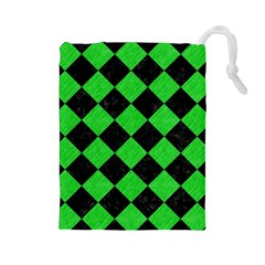 Square2 Black Marble & Green Colored Pencil Drawstring Pouches (large)  by trendistuff