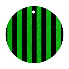 Stripes1 Black Marble & Green Colored Pencil Ornament (round) by trendistuff