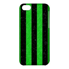 Stripes1 Black Marble & Green Colored Pencil Apple Iphone 5c Hardshell Case by trendistuff