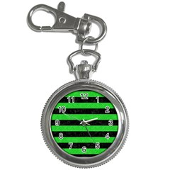 Stripes2 Black Marble & Green Colored Pencil Key Chain Watches by trendistuff