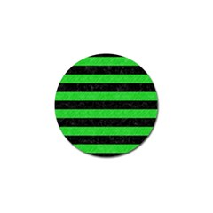 Stripes2 Black Marble & Green Colored Pencil Golf Ball Marker by trendistuff